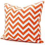 Lavievert 18 X 18 Inches Cotton Canvas Square Throw Pillow Cover with Invisible Zipper Closure, White and Orange Chevron Stripe