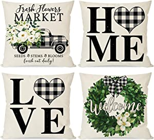 PANDICORN Modern Farmhouse Pillow Covers 18x18 Set of 4, Black Buffalo Plaid Check Home Love Heart Truck Wreath, Spring Decor Green Flower Floral, Welcome Throw Pillow Cases Outdoor Decorations