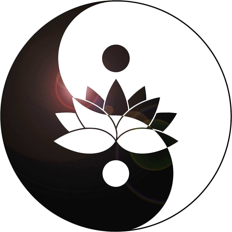 DesignToRefine Vinyl Wall Decal Lotus Flower Yin Yang Symbol Zen Meditation Art Stickers Mural Large Decor (g1107) Black