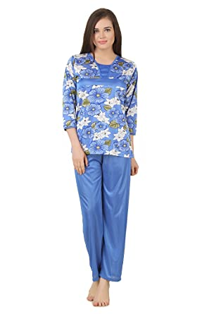 c39bd638e5 Fasense Women Satin Nightwear Nightsuit Top   Pyjama Set