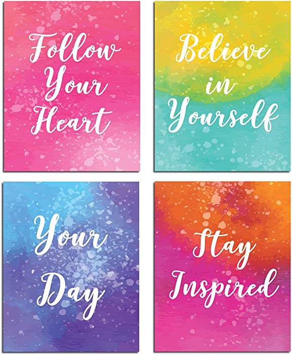 Inspirational Wall Art Motivational Painting- Quotes and Sayings Poster Home Office Decor Canvas Print Bedroom Living Room Decoration Kids Teens Positive Pictures Modern Artwork Set of 4 Unframed