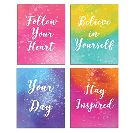 Inspirational Wall Art Motivational Painting Quotes And Sayings Poster Home Office Decor Canvas Print Bedroom Living Room Decoration Kids Teens Positive Pictures Modern Artwork Set Of 4 Unframed Amazon In Home Kitchen