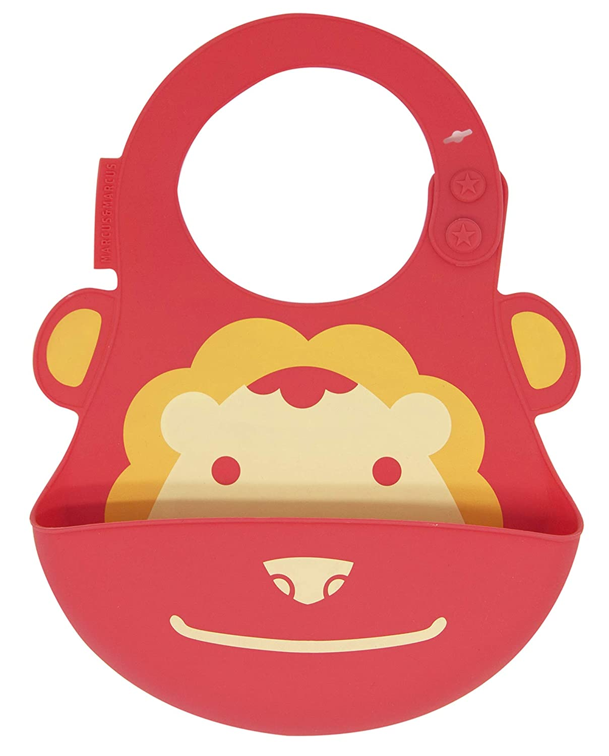 Baby and Toddler Bib, Food Grade Silicone, Easy Clean Up, Red Lion by Marcus & Marcus