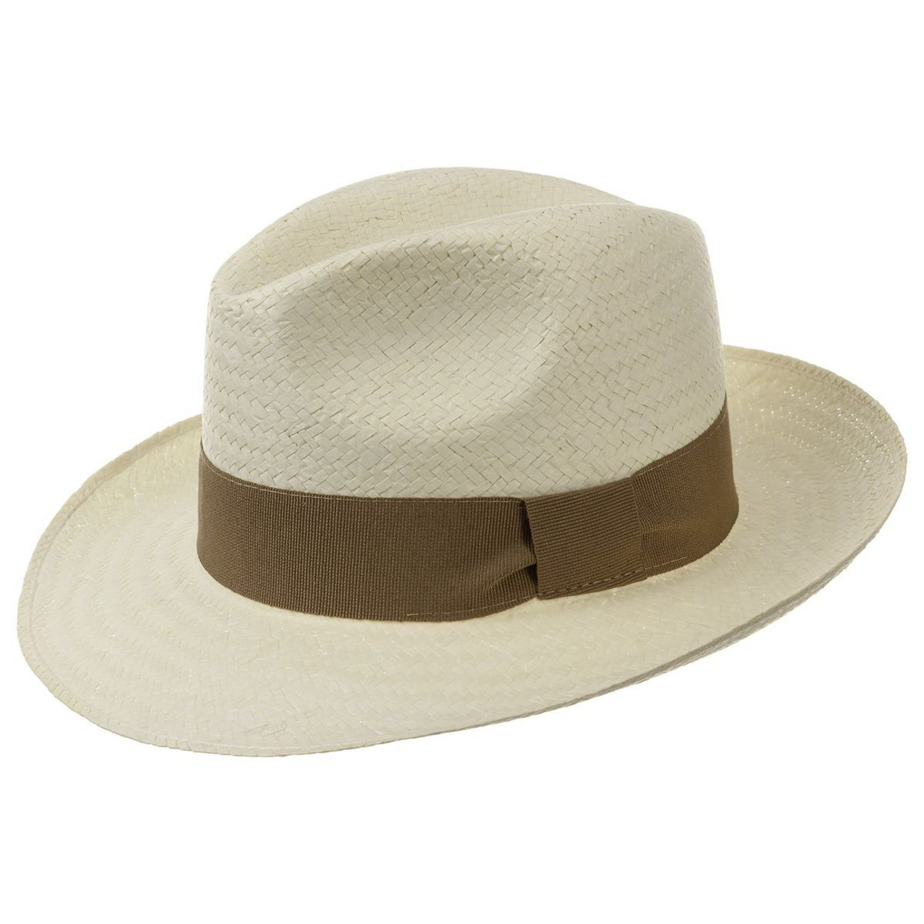 Lipodo Palermo Straw Hat (Fedora) with Grosgrain Ribbon | Spring/Summer Hat | Colour Nature | Sun Hat in Sizes S-XL Hutshopping