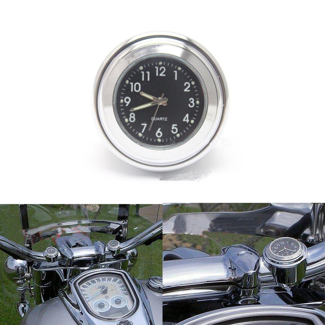 ViZe 7/8'' 22mm Horloges de Guidon Moto Montre Pour Harley Motocycle Motif Argent