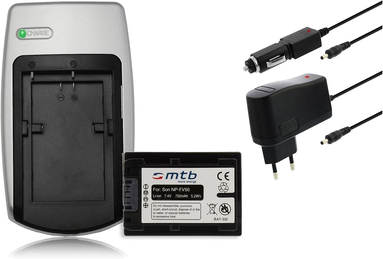 pour Sony NP-FV50 // DEV- Chargeur NEX-...voir liste! DCR- HDR- 2 Batteries Auto//Secteur