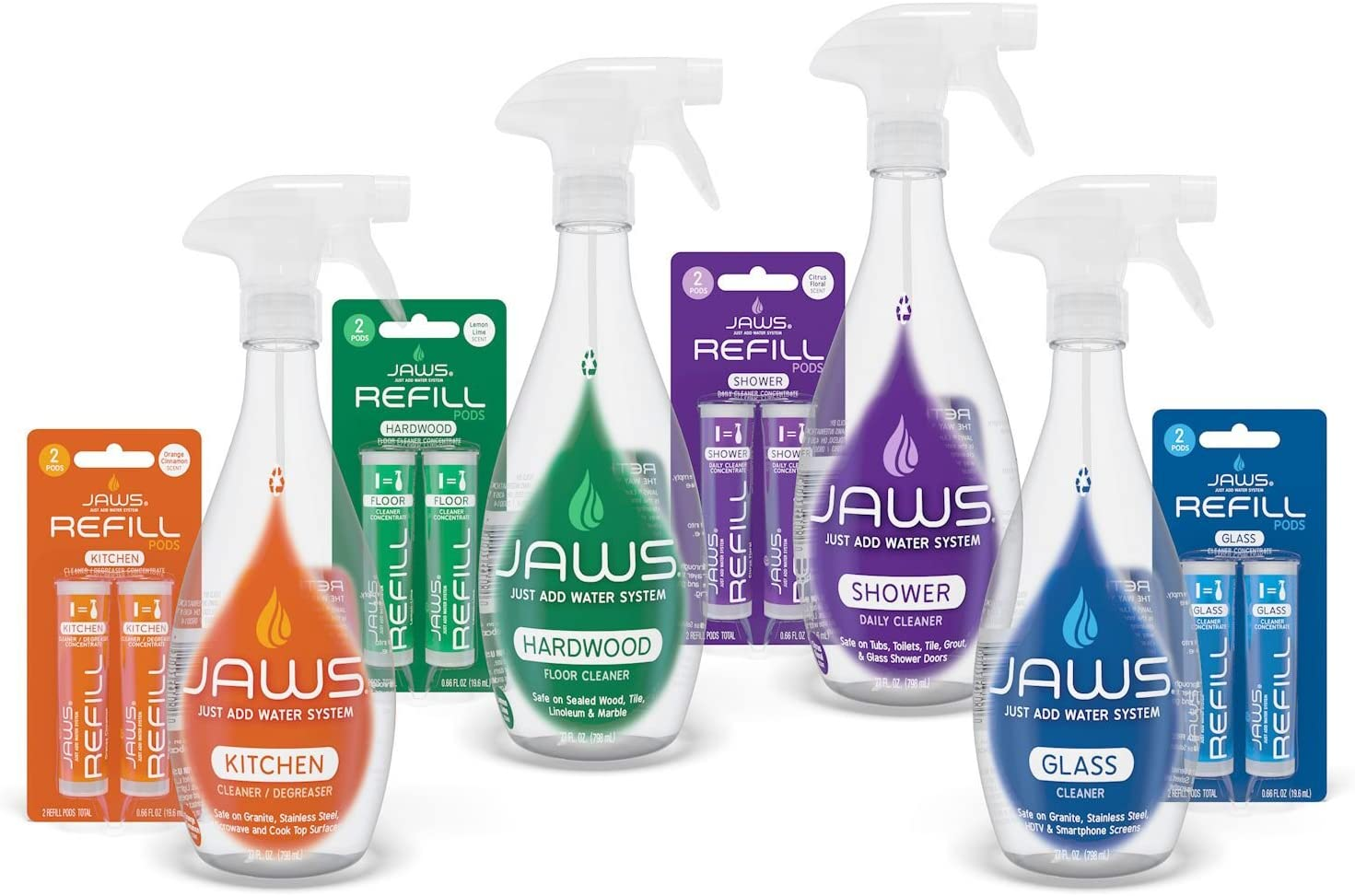 JAWS Home Cleaning Kit   Kitchen, Glass, Shower and Hardwood   2 Refill Pods of Each Included. Non-Toxic and Eco-Friendly Cleaning Products. Refill and Reuse.
