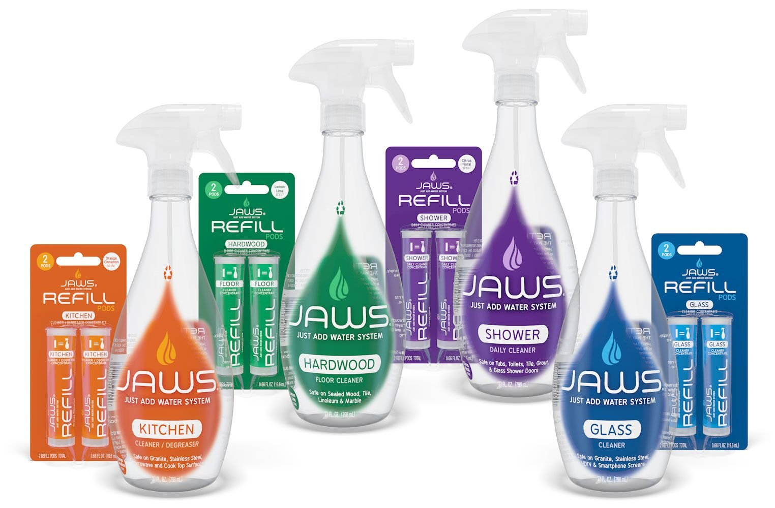 JAWS Home Cleaning Kit | Kitchen, Glass, Shower and Hardwood | 2 Refill Pods of Each Included. Non-Toxic and Eco-Friendly Cleaning Products. Refill and Reuse.
