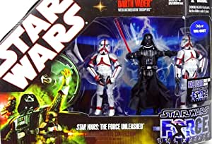 Star Wars Saga 2008 The Force Unleashed Exclusive Commemorative Collection Darth Vader with Incinerator Troopers Hasbro