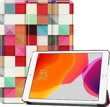 Acc Family Estuche para iPad 7 2019,Estuche Triple de Cuero de impresión liviano con activación/Reposo automático y múltiples ángulos de visión para iPad 10.2