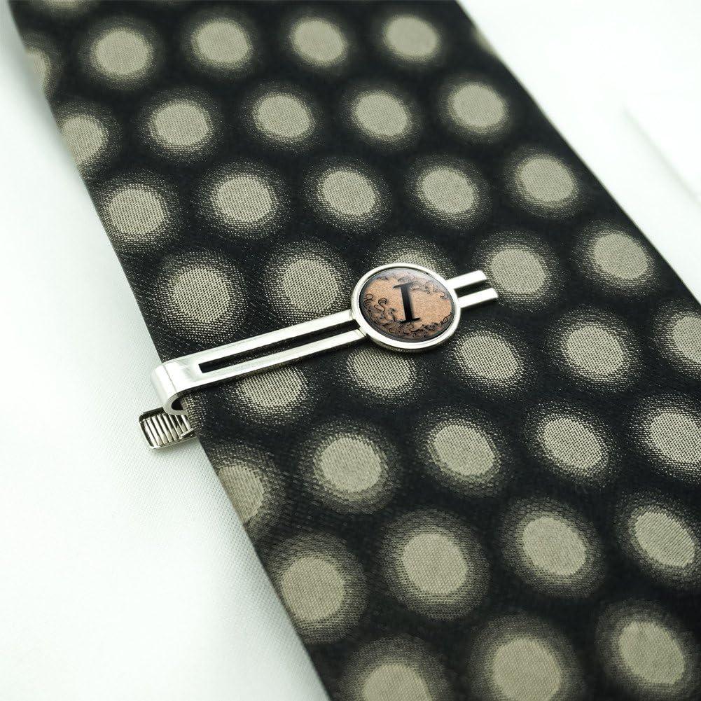 Vintage Letter I Initial Black Tan Mens Tie Clip Tack Bar