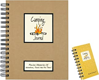 product image for 2 Camping Journal Set | Use as Campers Vacation Planner, RV Travel Diary, Road Trip Log Book | 1 Full size (200 Pages) and 1 Mini (120 Pages) Spiral Journals with Prompts