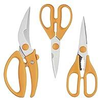 Kitchencraft Master Class–Forbici da cucina in acciaio inox e Trinciapollo (Set di 3), Arancione, Set di 3