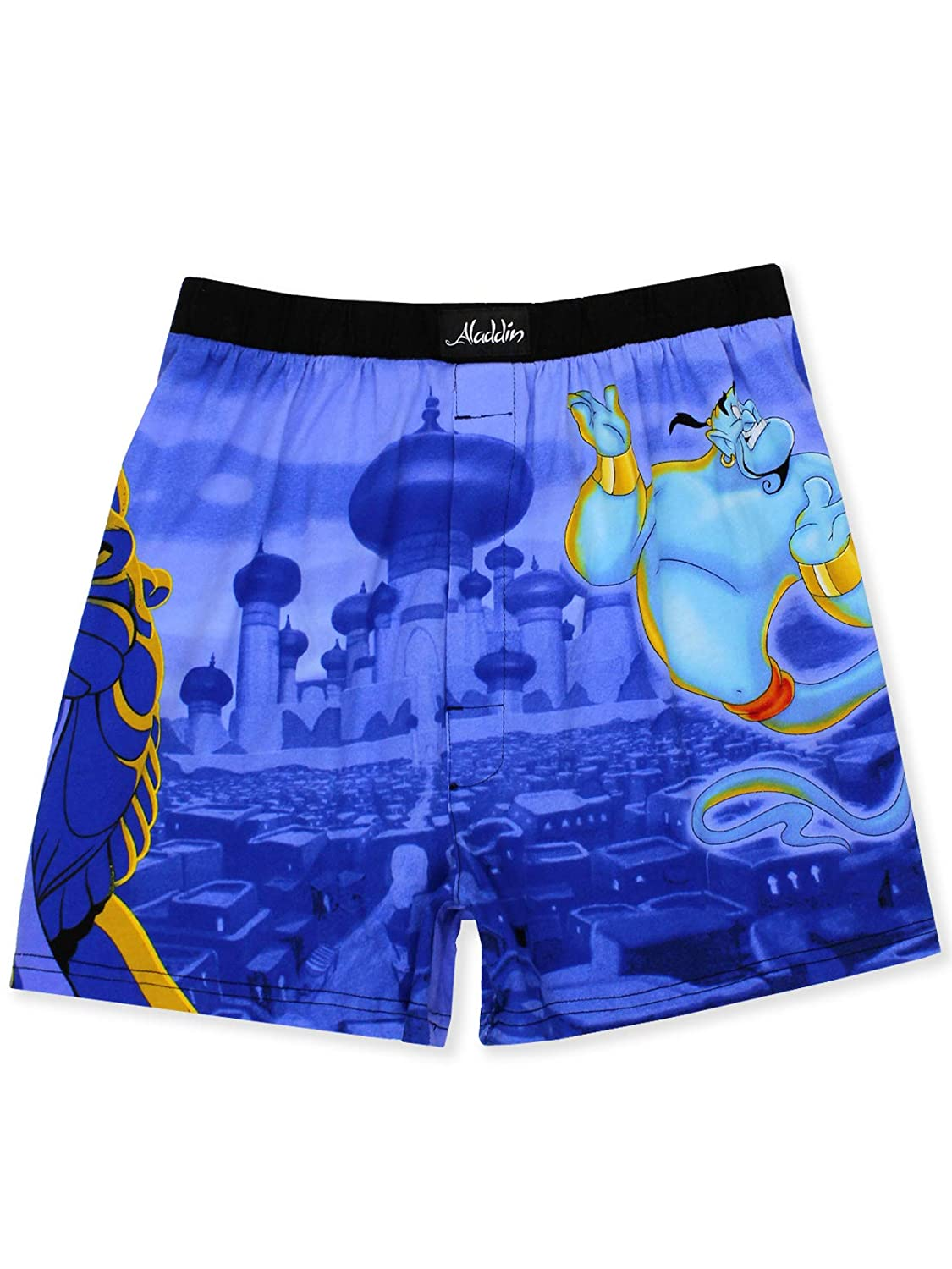 Disney Aladdin Genie Jafar Mens Briefly Stated Boxer Lounge Shorts