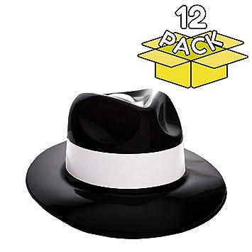 Amazon.com  Windy City Novelties Gangster Hat Fedoras (Black with ... fc1e6d6cd9ab