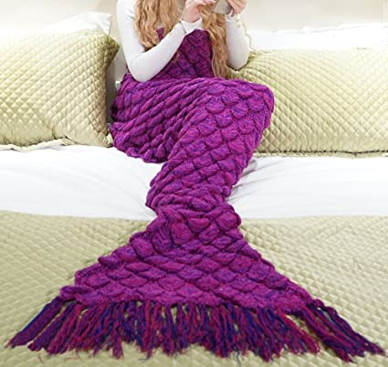 Manta de cola de sirena Bolso de dormir hecho a mano del ganchillo Textiles del hogar Ropa de cama colchas Mantas para cama Toda la temporada ...