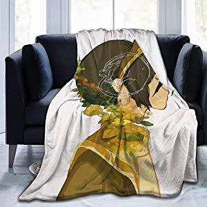 AKANDIS Avatar The Last Legend Airbender ATLA Comics Anime Manga Toph Beifong Sofa Throw Blanket Flannel Super Soft Fleece Bedspread Home Decor All Season for Bed Couch Living Room Small 50 x 40 Inch