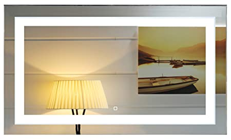 48X28 Inch Wall Mounted Led Lighted Bathroom Mirror with Touch Switch GS099-4828R 48×28 inch RE
