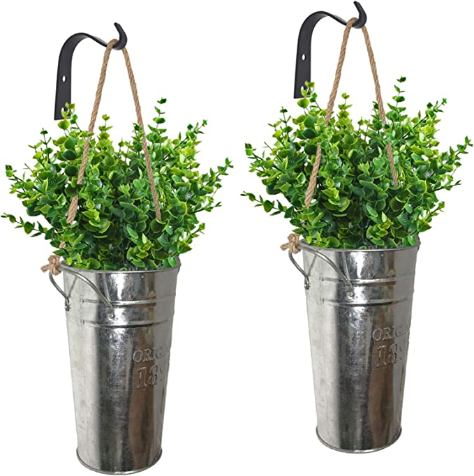 Lesen Galvanized Metal Wall Planter Farmhouse Rustic Wall Decor Hanging Country Home Wall Vase For Plants Or Flower Indoor Or Outdoor Set Of 2 Amazon Ca Patio Lawn Garden