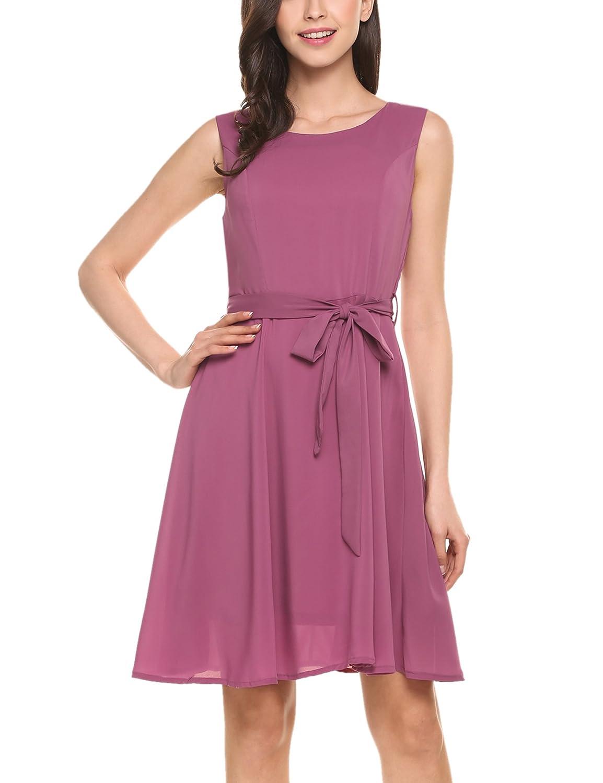 Zeagoo Women\'s Solid Sleeveless A-Line Party Cocktail Chiffon Dress ...