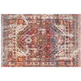 Traditional Vintage Oriental Area Rug, Red, Floor Carpet for Living Room Bedroom Easy Clean (120 x 160cm)