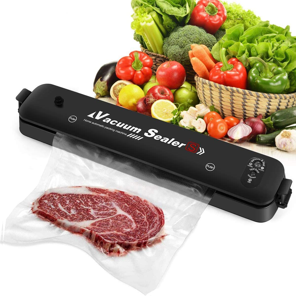Vacuum Sealer, Automatic Food Sealer with 15 Bags, Dry & Moist Food Modes, Compact Design, Easy to Clean, Food Sealer Machine Solve a Big Problem for Leftovers, Led Indicator Lights (Black)