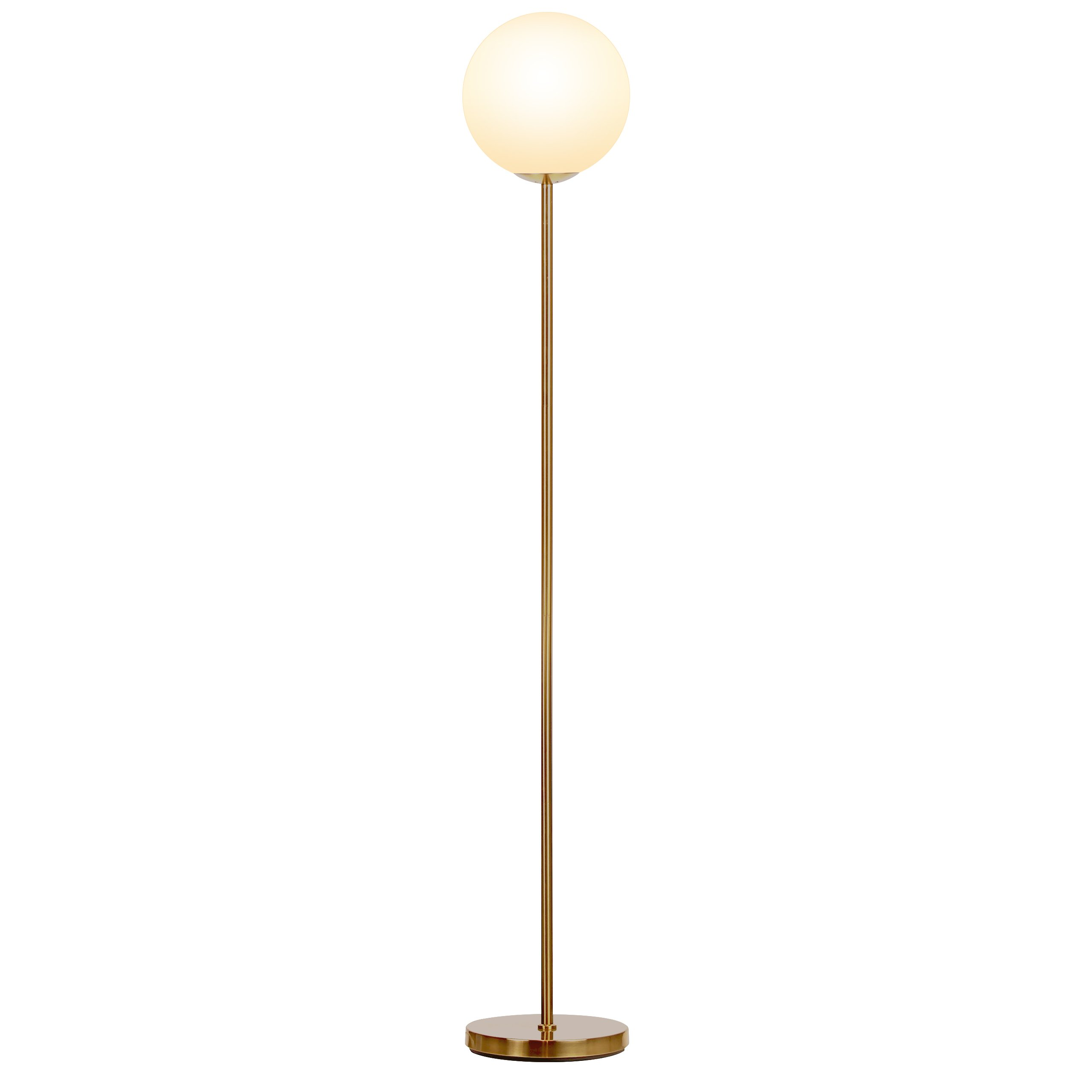 Brightech Luna - Frosted Glass Globe LED Floor Lamp - Mid Century Modern, Alexa Compatible Smart Standing Lamp for Living Rooms - Tall Pole Light for Bedroom & Office - with LED Bulb - Antique Brass