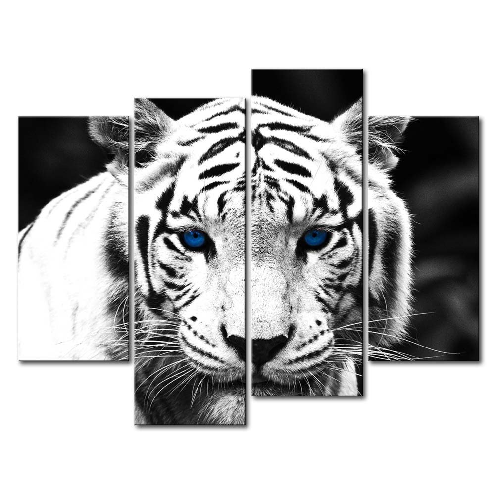 So Crazy Art Black & White 4 Panel Wall Art Painting Blue Eyed Tiger Prints On Canvas The Picture Animal Pictures Oil For Home Modern Decoration Print Decor For Kitchen