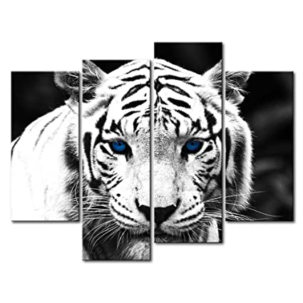 So crazy art black white 4 panel wall art painting blue eyed tiger prints on