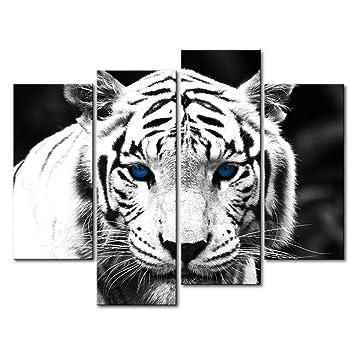 Amazon.com: Black & White 4 Panel Wall Art Painting Blue Eyed ...