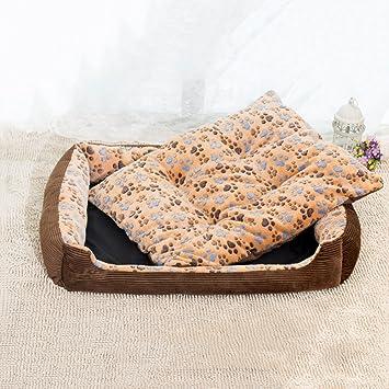 QINYL Huella Mascota Patrón Felpa Forro Caseta De Perro, Resistente A Los Arañazos Cálida Cama para Mascotas, 80 * 60 * 15Cm,Brown: Amazon.es: Hogar