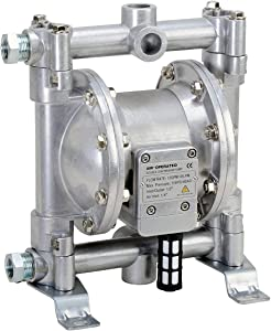 "Fuelworks Double Diaphragm Transfer Pump 1/2"" Nitrile/NBR/Buna-N - 12GPM / 45LPM Heavy Duty Aluminium Air Operated Pneumatic for Diesel, Grease, Kerosene & Oil"