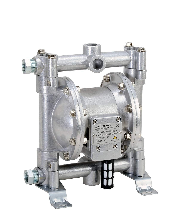 Fuelworks Double Diaphragm Transfer Pump 1/2'' Nitrile / NBR / Buna-N - 12GPM / 45LPM Heavy Duty Aluminium Air Operated Pneumatic for Diesel, Grease, Kerosene & Oil