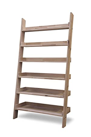 Leisure Traders Large Wide Wooden Ladder Bookshelf Floating Shelf Display
