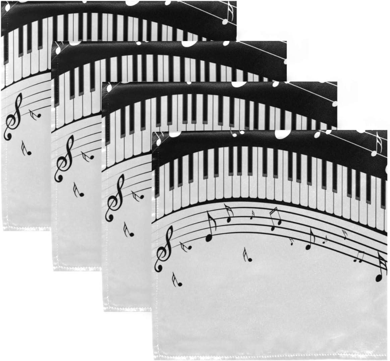 20 x 20 cm cuisine AUUXVA BIGJOKE Serviettes en tissu Notes de musique Piano Lot de 1 serviettes de table lavables et r/éutilisables pour restaurant d/îner de famille f/ête