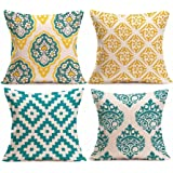 "Clearance! Paymenow 4 Pieces Square Throw Pillow Cases Linen Sofa Cushion Cover Home Decor (18"" x 18"", C)"