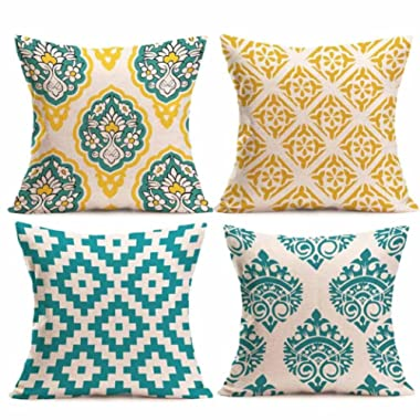 Paymenow Clearance 4 Pieces Square Throw Pillow Cases Linen Sofa Cushion Cover Home Decor (18  x 18 , C)
