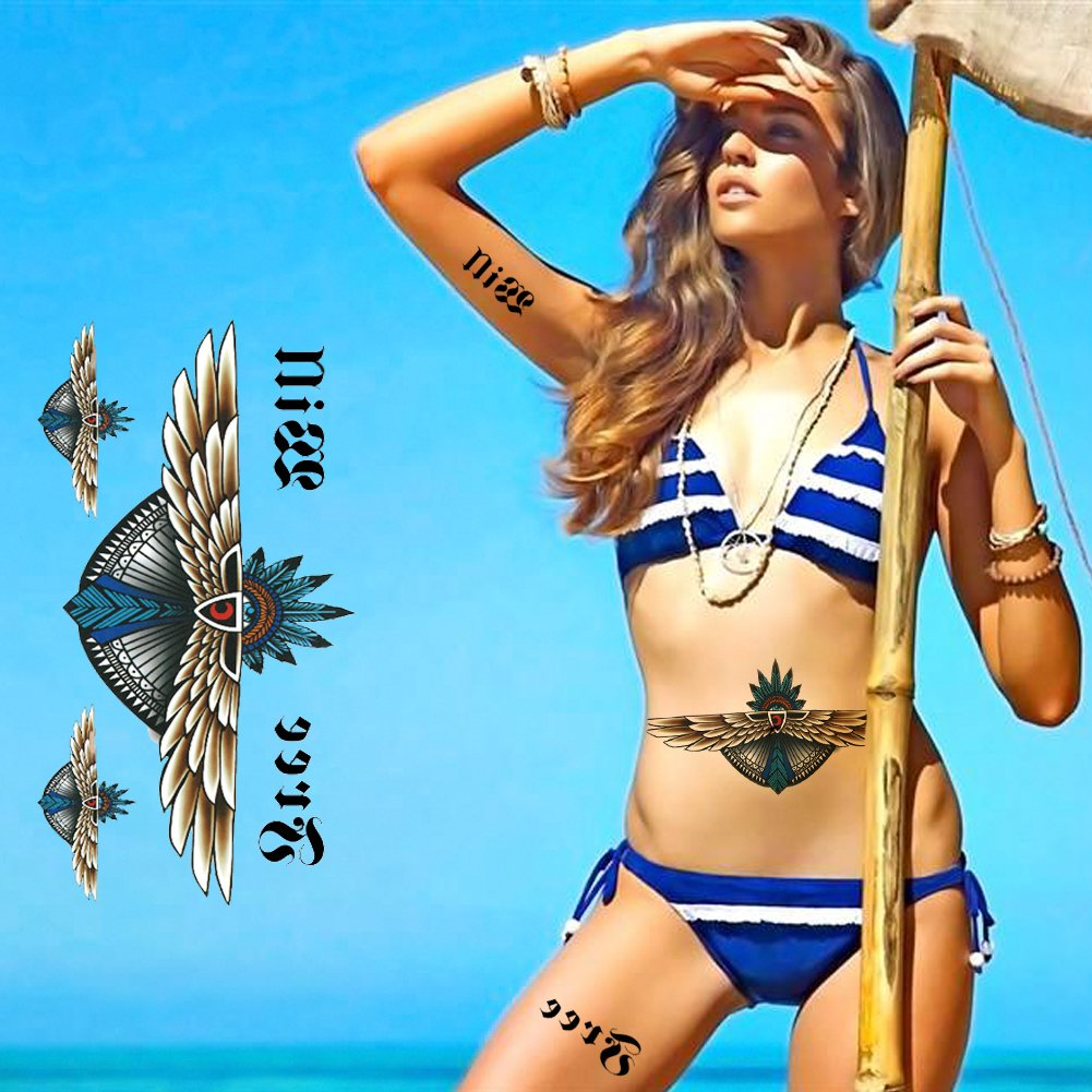 Large Tattoos Fake Temporary Jewelry Body Tattoos Art Stickers for Women Men Teens, VIWIEU 3D Realistic Girls Chest Temporary Tattoos, 5 Sheets, Water Transfer Body Tattoos by VIWIEU (Image #3)