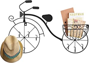 Alsonerbay Bike Decor for Wall, Metal Bicycle Display with Basket, Unique Art Ornaments, Classic Retro Style for Home, Vintage Gifts (Black)