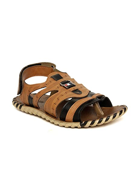 30a91e207f6e Golite Men Tan PU Casual Sandals Uk  Buy Online at Low Prices in India -  Amazon.in