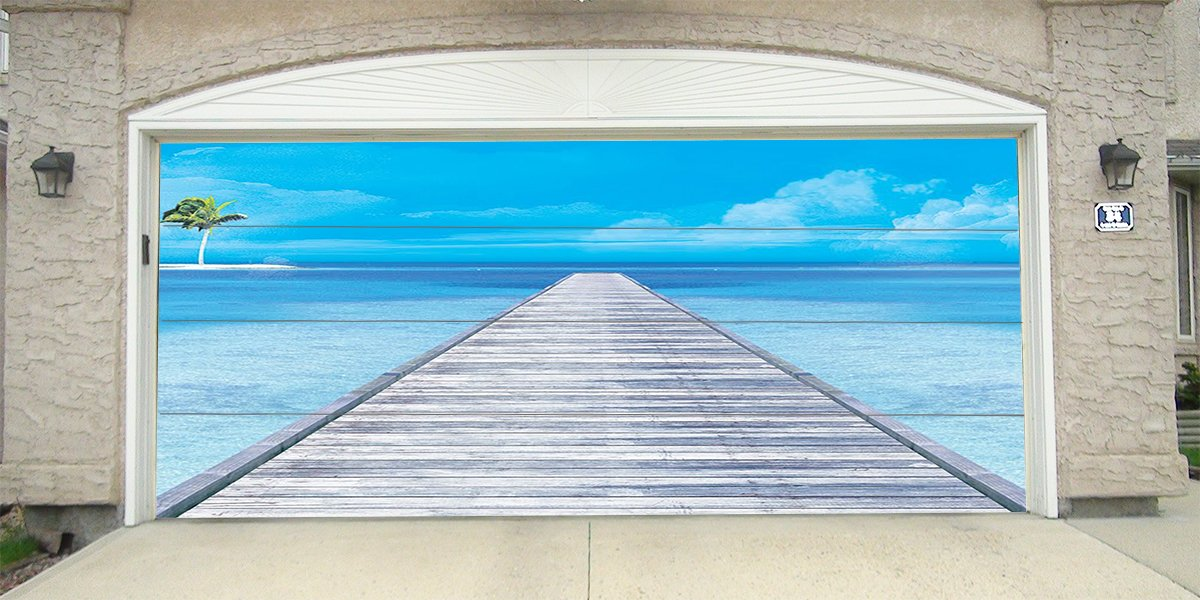 Re-Usable 3D Effect Garage Door Cover Billboard Sticker Decor Skin -Tropical Dock - Sizes to fit your Garage.