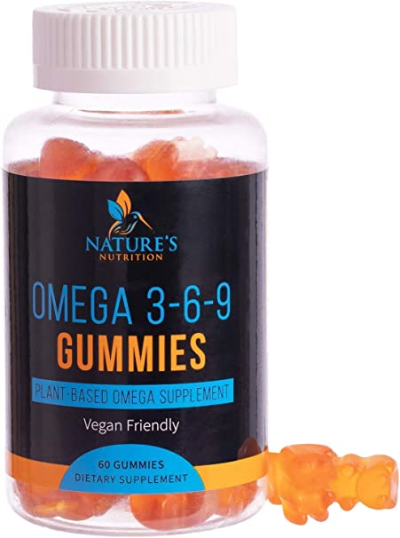 Omega 3 6 9 Gummies Extra Strength Essential Fatty Acid Supplement - Perilla Oil 369 Gummy - Best Vegan Plant-Based Heart Support, Non-GMO - 60 Gummies