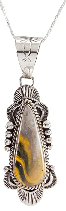 a3b6f72d2 Arthwick Store Navajo Native American Bumble Bee Jasper Pendant Necklace