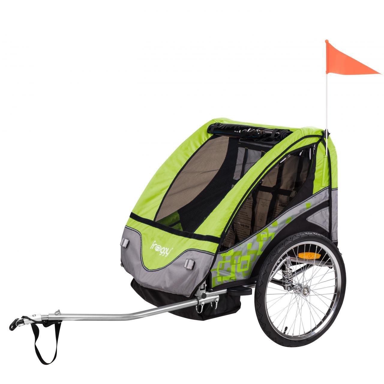 FROGGY Kinder Fahrradanhänger mit Federung + 5-Punkt Sicherheitsgurt, Anhänger für 1 bis 2 Kinder, Design Apple