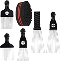 Homgaty 5PCS Afro Pick Comb with 1 Hair Twist Sponge Brush, African American Comb Metal Teeth Hairdressing Styling Tools…
