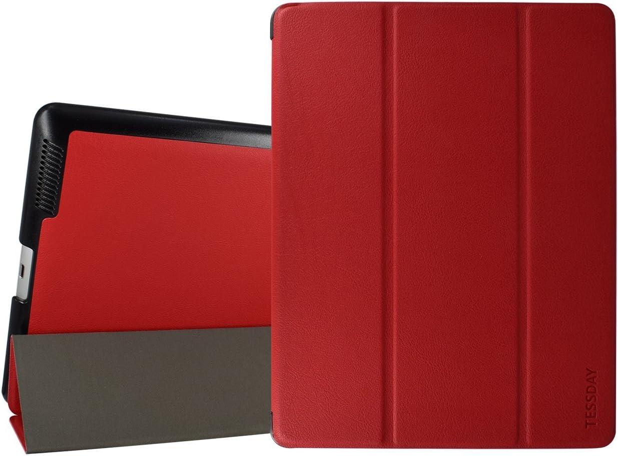 iPad 2/3/4 Case - Tessday Smart Shell Case for Apple iPad 4th Generation with Retina Display, iPad 3 & iPad 2, Red B