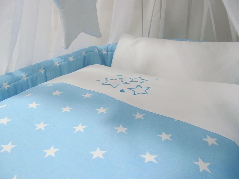 Bettw/äsche 7 Teile Nestchen Spannbetttuch ohne Stubenwagen Steppbett Babymajawelt/® Ersatz Bett Set f/ür Stubenwagen Himmel BIG Stars blau