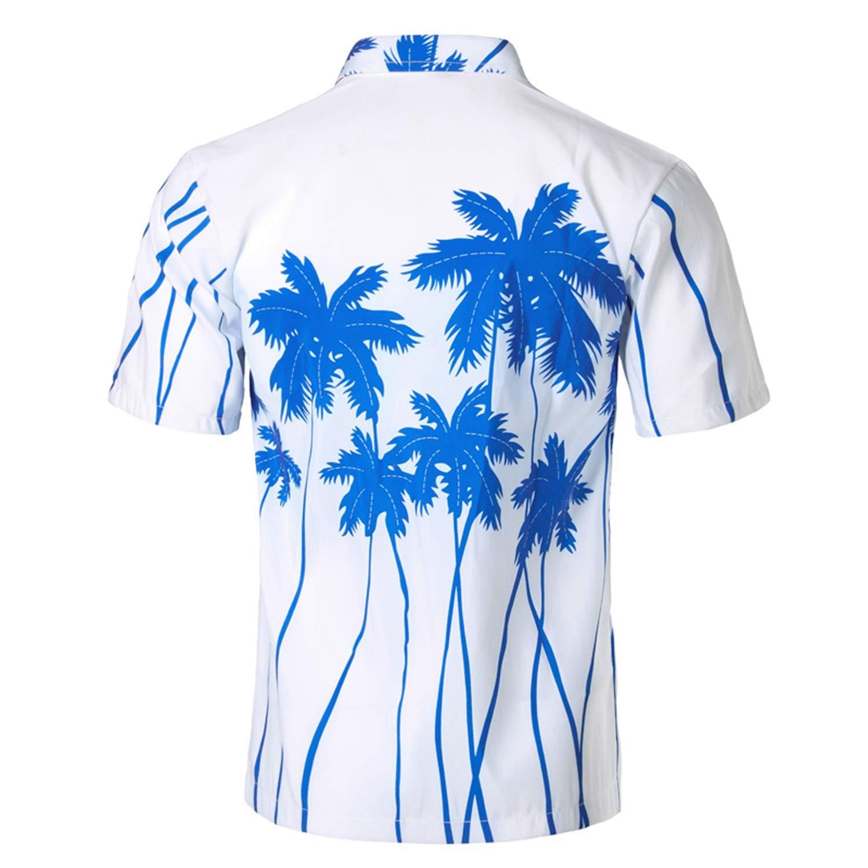 Palm Tree Print Hawaiian Shirt Men Fashion Summer Short Sleeve Shirt Men Casual Vacation Tops Shirts for Men