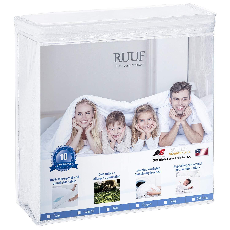 RUUF Queen Size Mattress Protector, Premium Hypoallergenic Waterproof Mattress Cover, Vinyl Free