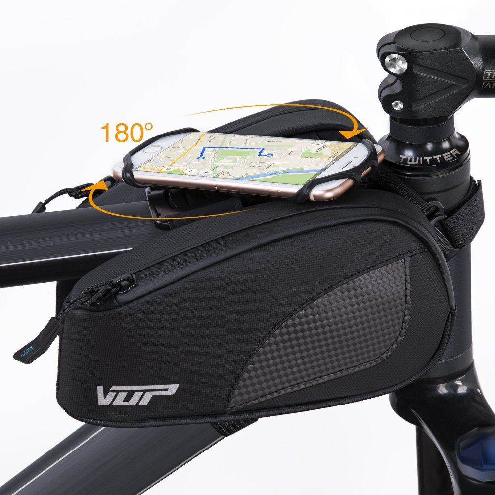 VUP Bike Bag for Top Tube, Bicycle Front Tube Frame Bags w/Open-face 180°Rotatable Silicone Strap Phone Holder Fit 4 to 6.5 inche Cell Phone, Road Bike Accessories